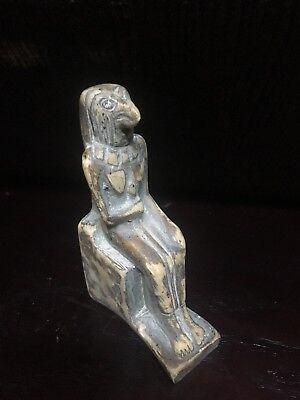 Rare Ancient Egyptian Faience Seated Horus 650-530 BC