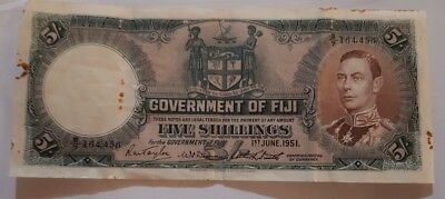 1951 Fiji Five Shilling Paper Note as pictured , registered Post