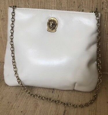 VINTAGE WHITE LEATHER Classic 1950 s Handbag Shoulder Purse Lion ... 66ccaf48b3da7