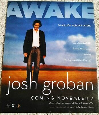 "Josh Groban 11x13 Magazine Ad for Awake Album ""Coming November 7"""