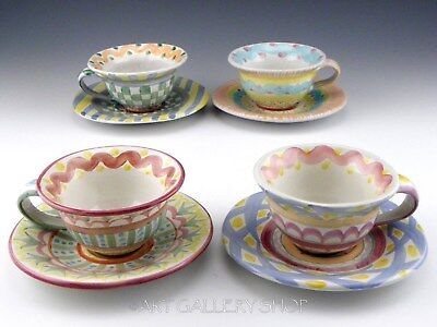 Mackenzie Childs Ceramic Majolica 4 CUPS AND 4 SAUCERS Set Unused