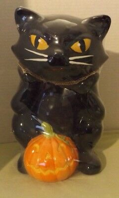Black Cat Cookie Jar with Pumpkin - Halloween New with Packaging