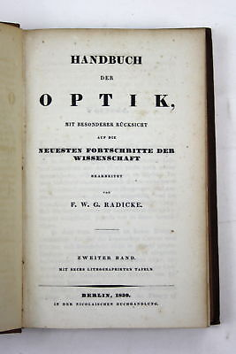 1839 Radicke - Handbuch der Optik. 2 Bde. / 2 vols. optics