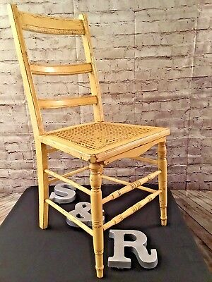Yellow Vintage Ladder Back Distressed Wood Cane Seat Chair