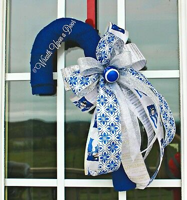Candy Cane Door Hanger, Front Door Candy Cane, Christmas Candy Cane Wreath, Blue