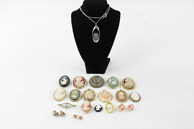 18 x VINTAGE CAMEO JEWELLERY inc. Pendants, Necklaces, Brooches, Earrings