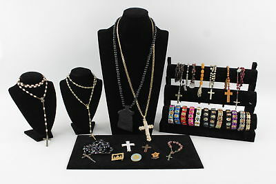 30 VINTAGE RELIGIOUS JEWELLERY Inc. Rosaries, Crosses, Enamel Charms, Bracelets
