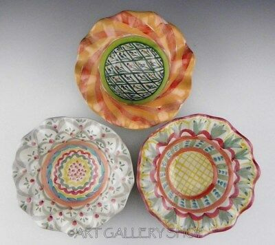Mackenzie Childs Ceramic RUFFLED FLUTED CEREAL or SOUP BOWLS Set 3 Unused