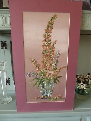 Vintage Hand Embroidered Picture Panel - Fabulous Floral Bouquet- Stunning
