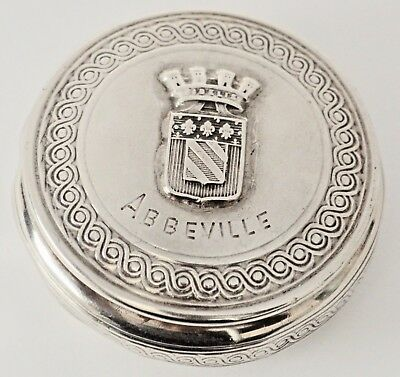 French 950 Silver Pill Box Abbeville France - Albert Deflon Paris 1910 - 20