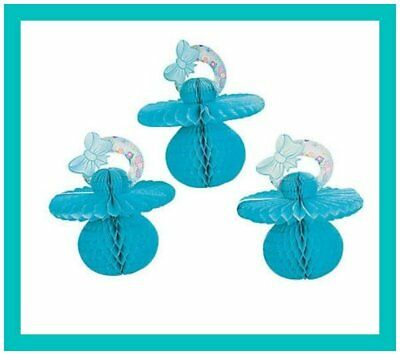 3 Piece Baby Shower Decorating Kit - Tissue Pacifier Theme  - BLUE - FREE SHIP