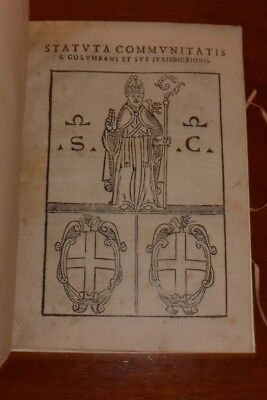 Very Rare Book Of Statutes From Little Italian Town In The 16Th Century
