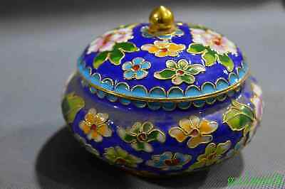 China Art Collectable Decorate Cloisonne Carve Royal Flower Delicate Lucky Pot