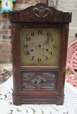 Vintage Small German mantel clock with time strike. Parts / restore.