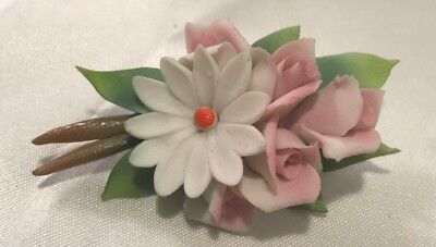 Vintage Belfiore Collection Porcelain Flower Bouquet Pin w/Box Made in Italy