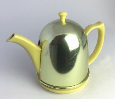 Vintage Hall Antique 1930-40s Yellow Ceramic Teapot With Metal Cozy Made USA