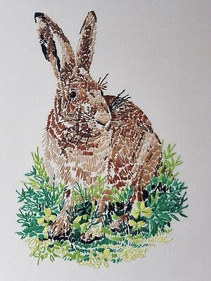 vintage hand embroidered picture panel Hare large 51 x 42.5 cm