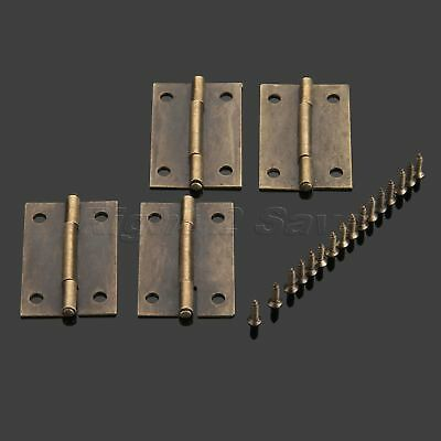 "4/12/20pcs Metal Hinge Cabinet Drawer Wooden Jewelry Box Door Hinges 1.5""*0.98"""
