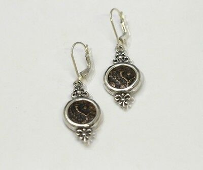 Sterling Silver Earrings, Genuine Ancient Coins, Judaea w/Cert - 087
