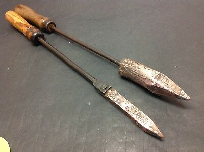 Two Copper Head Soldering Irons.Old Tools