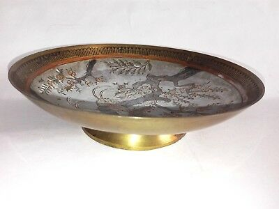 Antique India Middle Eastern brass Plate Bowl Engraved Decorative manual inscrip