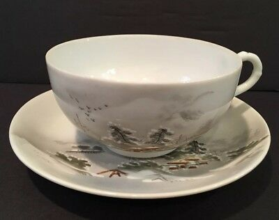 Antique Hand Painted Japanese Cup And Saucer With Mountain Village Theme Signed
