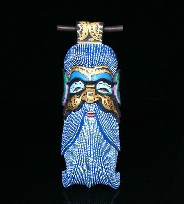 300mm Handmade Carving colored drawing wood Mask god of longevity Deco Art