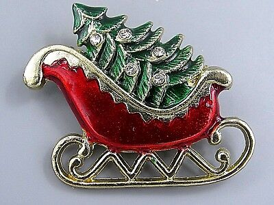 Vintage Jewelry Christmas Tree Red Sleigh BROOCH PIN Rhinestone Lot M