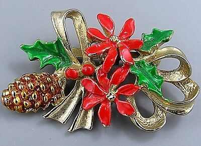 Vintage Jewelry Christmas Poinsettia Pine Cone BROOCH PIN Rhinestone Lot M