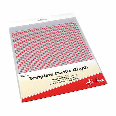 Sew Easy Gridded Template Plastic, Pk Of 2 Sheets,stencil Patchwork Bnew