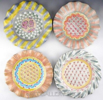 Mackenzie Childs Ceramic Majolica RUFFLED FLUTED DINNER PLATES Set of 4 Unused