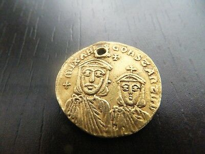 Ancient Byzantine empire gold  coin av solidus-Theophilus 829-842