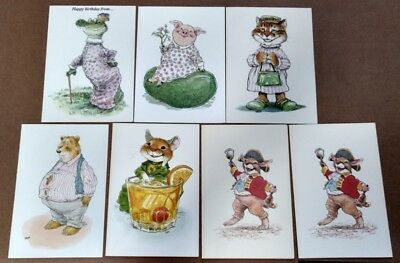 Lot of 7 Pawprints Wallace Tripp Unused Greeting Cards Anthropromorphic Pig Cat