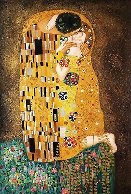 """The Kiss"" by Klimt , 24x36, Oil painting Reproduction on Canvas"
