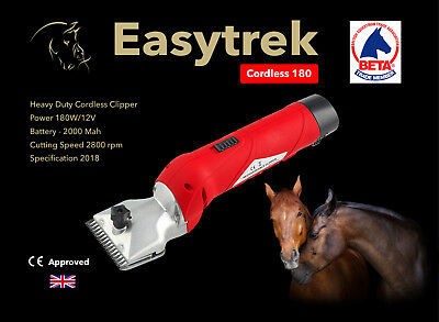Easytrek Cordless horse clippers with 2 batteries heavy duty 180 Watt