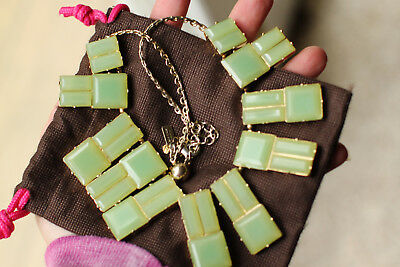 Kate Spade Hot Chip Necklace square stones STATEMENT CHALCEDONY MINT GREEN