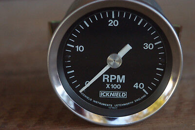 "Icknield RPM Gauge Tachometer 4000 R.P.M. New Without Box 3.5"" Face"