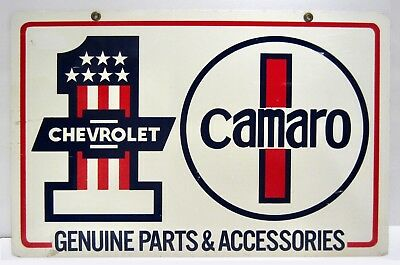 VTG Double-Sided Chevrolet CAMARO Genuine Parts Accessories DEALER SIGN Oil Gas