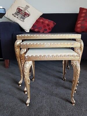 Rare Antique Vintage Brass And Marble Beautiful Nest Of Tables
