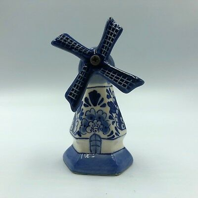 Holland Porcelain Windmill Delft Blue Vintage Hand Painted White Shoe Dutch Gift