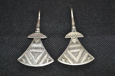 Extremely Ancient Rare Viking Pair Of Beautiful Silver Earrings 8th-9th century