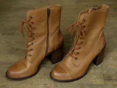 1b457fa5a36 Steve Madden Steven Whit Lace Up Boots Tan Brown Leather Ladies 10