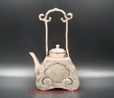 Collectible Handmade Carving Statue Copper silver Teapot Tibet