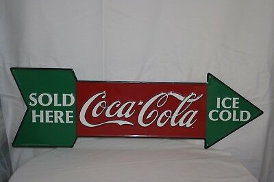 Coca-Cola Embossed Tin Arrow Sign Ice Cold Sold Here 1990 Vintage Style Coke