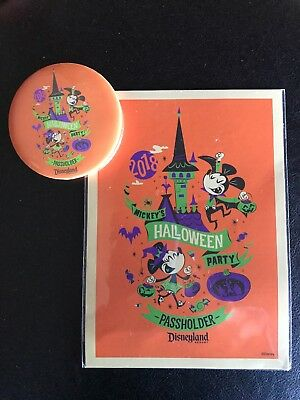 Disneyland AP Exclusive Button & Card Halloween 2018 Mickeys Halloween Party New