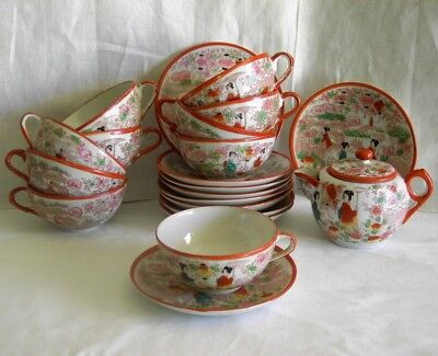 Antique Japanese Kutani Geishas Hand Painted TEA SET 22 Piece SET circa 1900