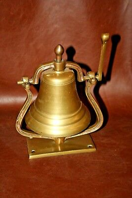 Antique Solid Brass Table or Wall Mounted Loud Swivel Nautical Style Dinner Bell