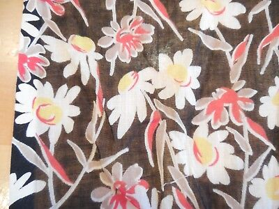 """Vintage 1930s 40s Cotton Fabric, Semi Sheer Black Floral, 36"""" W x 2 Yds, Exc"""