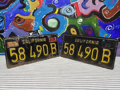 Set 1963 - 1969 California Commercial Truck License Plate Tag Pair Vintage Sign