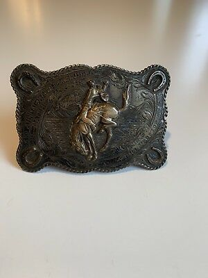Antique Sterling Silver/10K Rodeo Belt Buckle - Maddox Leathercraft - 1951
